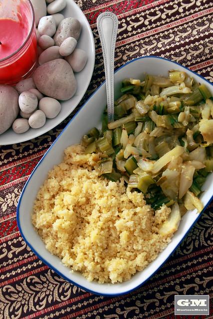 Catalogna e finocchi con couscous al limone