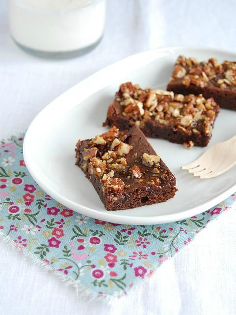 Pecan praline brownies / Brownies com praliné de pecã