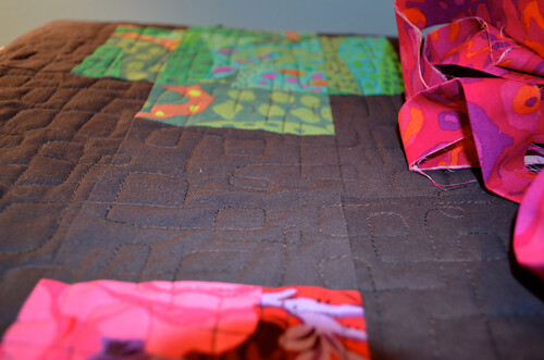 A look at the quilting pattern and the binding fabric.