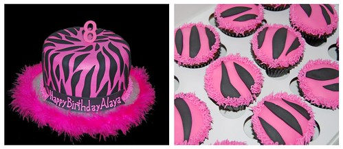8th birthday pink and black zebra print cake and cupcakes