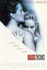 "This is the movie poster for ""Basic Instinct."" It features a profile of a naked man standing in front of a naked woman, who is facing the viewer. The woman has blonde hair and intense eyes, and her hand is like a claw on the man's back. The text below reads ""Basic Instinct."""