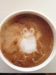 Today's latte, Tux the Linux mascot.