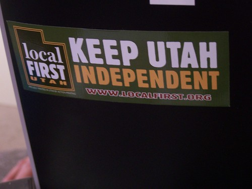 Local First Utah sticker, Fice Clothing boutique, Salt Lake City