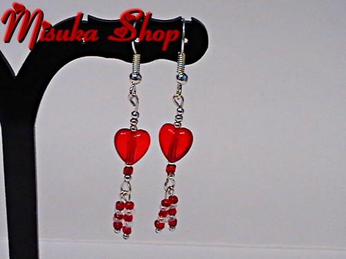 Pendientes Heart Red Flecos
