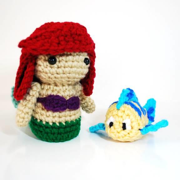 Amigurumi Disney Characters : Ariel and Flounder - Crochet Amigurumi Plush Dolls ...