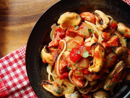 Mussels & Chorizo with Spaghetti