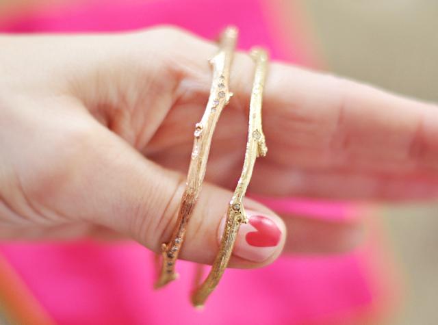 gold and  rose gold diamond tree branch bracelets
