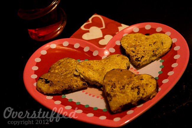 Chocolate chip panacake hearts