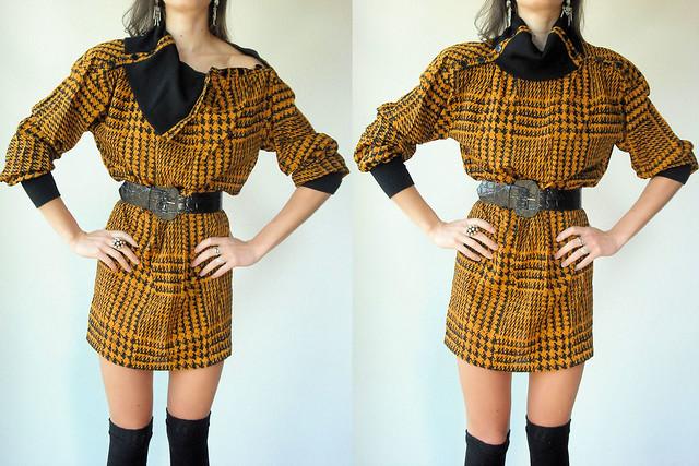 mustard houndstooth dress