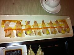 Usuzukuri de pescado blanco con mojo y patata
