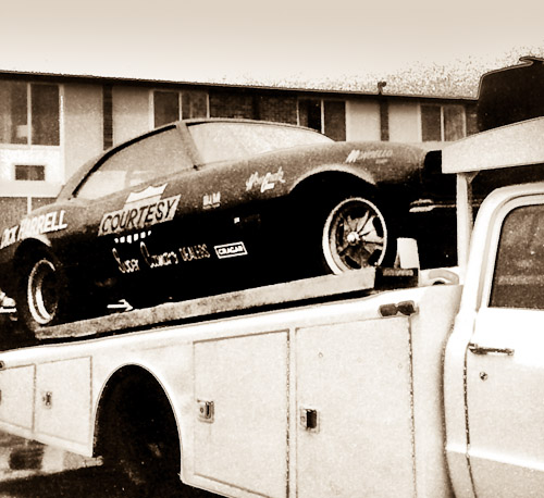 Dick Harrell Camaro Funny Car on a Ramp Truck