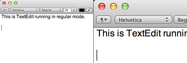 Comparison of TextEdit in regular and HiDPI modes