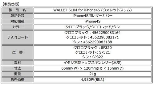 iPhone4S用レザーカバー『WALLET SLIM for iPhone4S』(全3色)販売開始 | スペックコンピュータ株式会社
