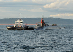 BANGOR, Wash. (April 12, 2012) The Ohio-class ballistic missile submarine USS Nebraska (SSBN 739) arrives at homeport in Naval Base Kitsap-Bangor after completing a strategic deterrent patrol. (U.S. Navy photo by Ray Narimatsu)