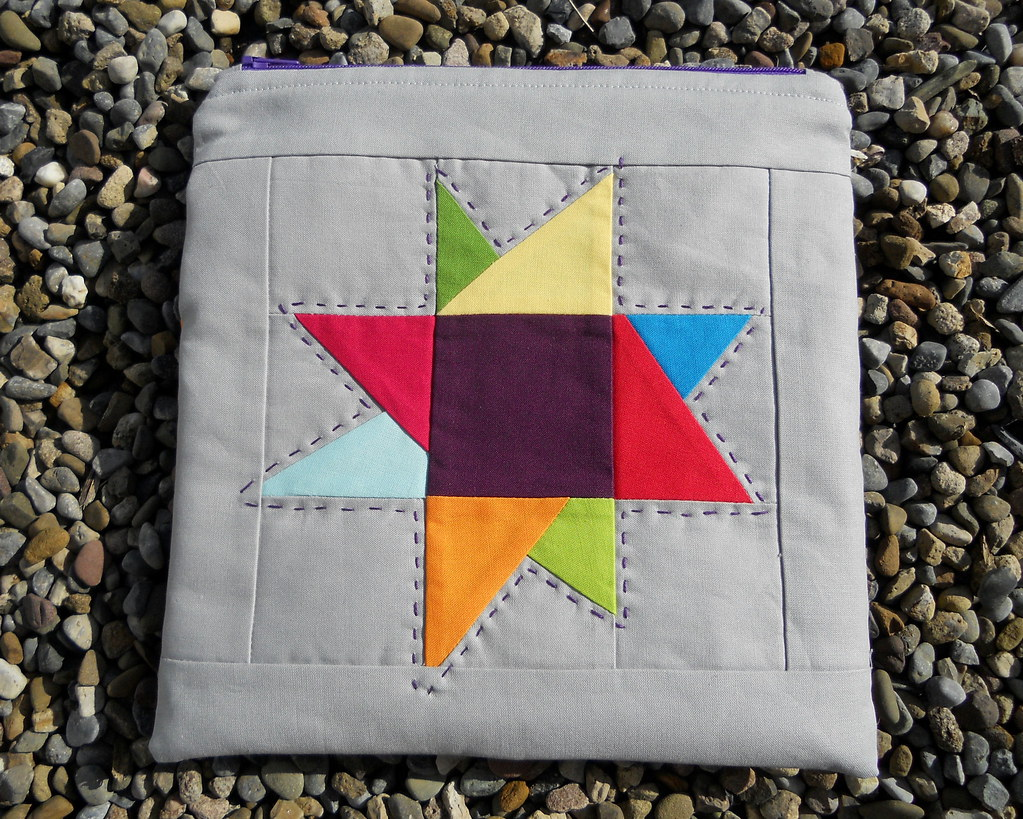 Solids wonky star zip pouch