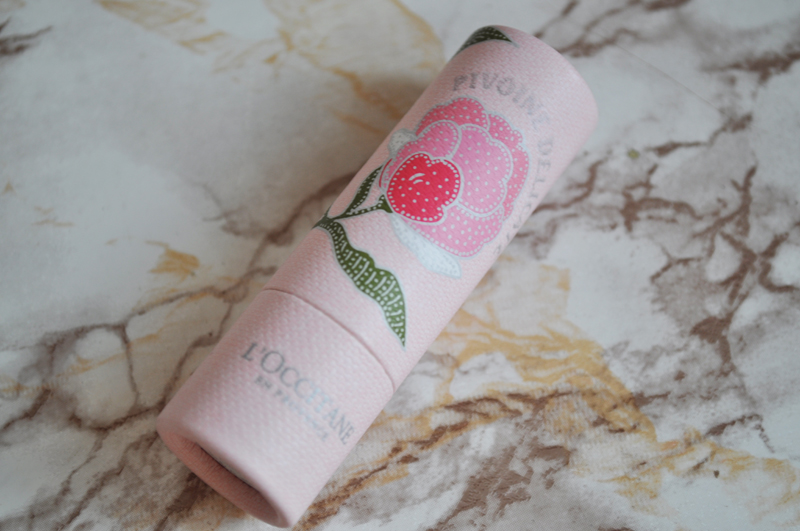 l'occitane peony pivione flora collection perfume lipstick hand cream highlighter shimmer powder 4