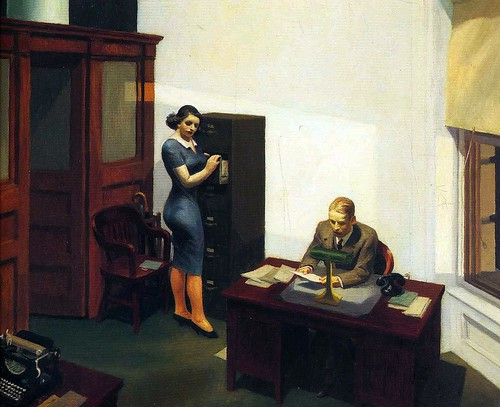 Edward Hopper - Office At Night [1940] by Gandalf's Gallery