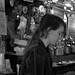 Marcie bartending