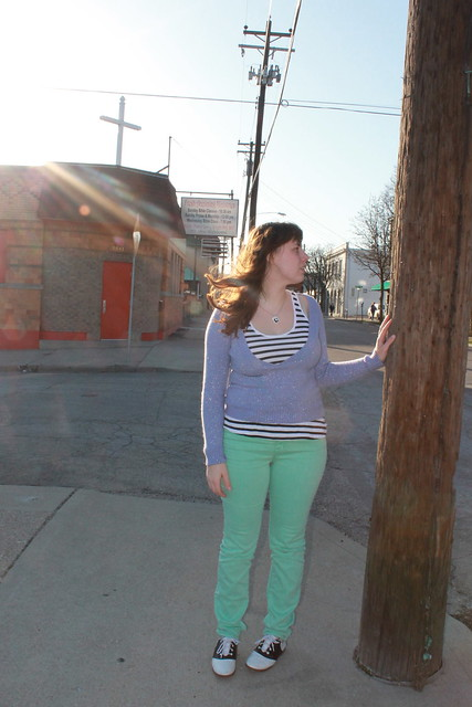 "Mint green and lavender outfit: BDG mint green jeans from Urban Outfitters, vintage saddle oxfords, black and white striped tank from Gap, thrifted sparkly lavender v-neck sweater, DIY Amélie ""Où et Quand?"" necklace"