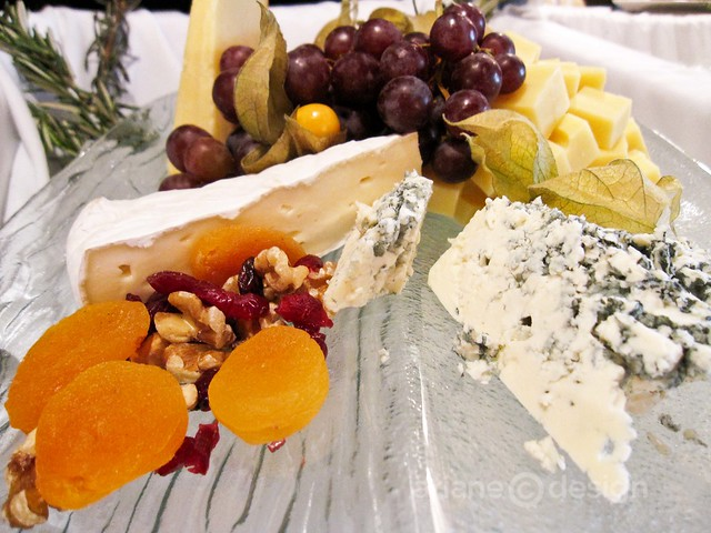 Cheese, nut, and fruit assortment