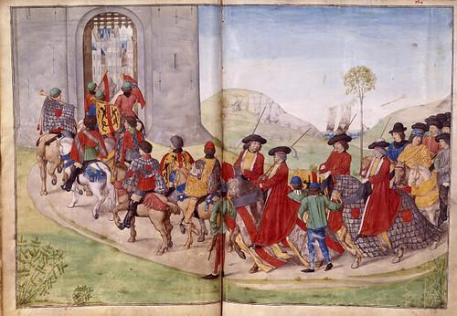 014-Le libre des tournois…1460- René d' Anjou--Français 2692, fol. 41v-42, Tournoi-Entrada de los jueces narradores