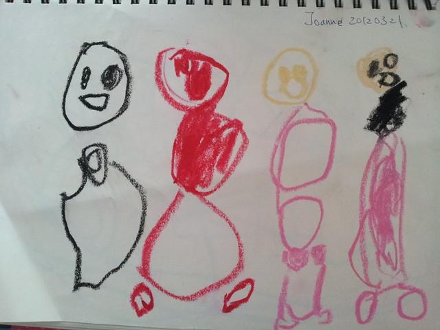 20120321 蕎安畫的我們。左到右  爸爸  媽媽  蕎安  潔咪。