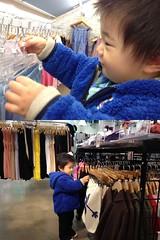 子供服の品定めをするとらちゃん(2012/3/24)