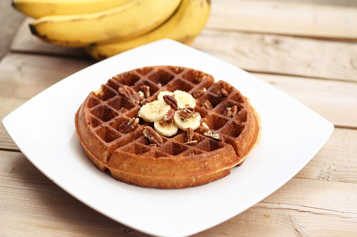 Banana Pecan Waffles - Gluten-free, Vegan + Refined Sugar-free