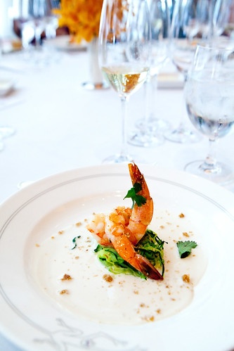 First course: Grilled shrimp with zucchini and coconut gremolata paired with Nicolas Feuillatte Blanc de Blancs 2004
