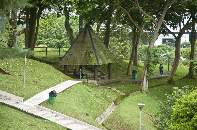Бегун в парке в Сингапуре