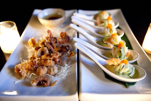 Appetizers - Fried baby octopus and Shrimp Bombs