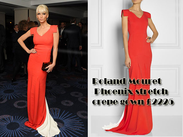 Red-Roland-Mouret-Phoenix-stretch-crepe-gown, Sarah Harding, Sarah Harding in Red Roland Mouret Phoenix stretch crepe gown, Red Roland Mouret Phoenix stretch crepe gown, red gown, red maxi dress, how to wear a red dress, how to style a red dress