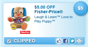 $5.00 Off Laugh & Learn Love To Play Puppy Coupon