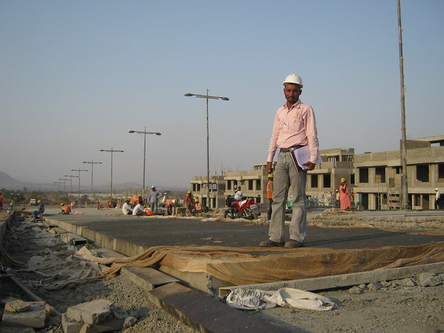 Under Construction Central Boulevard with Street Lights - Life Republic - Hinjewadi Marunji - on 22nd February 2012 - World Thinking Day