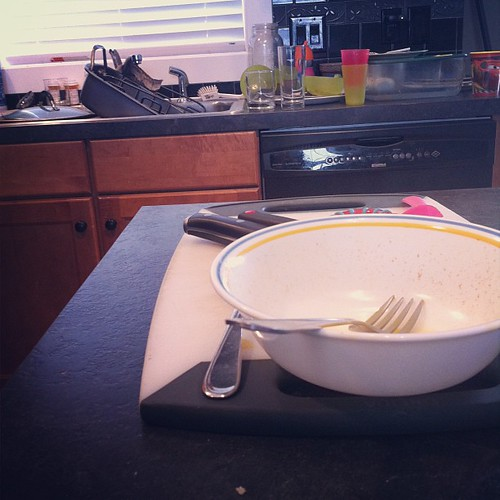 Back to real life. These dishes don't clean themselves.