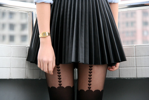Zoe S - H&M Skirt, Asos Tights - Leather pleated skirt and DIY bow ...