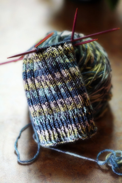 knitted sock in progress