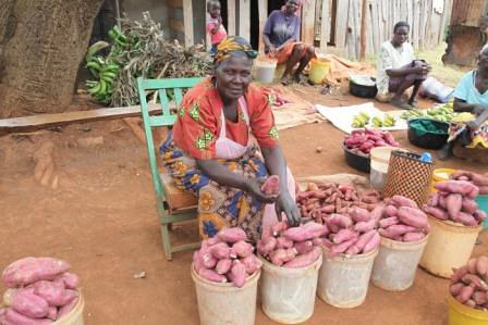 Woman at market with sweet potatoes