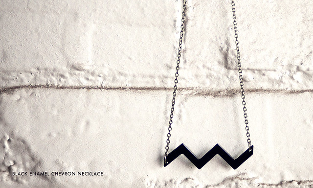 Black Enamel Chevron Necklace