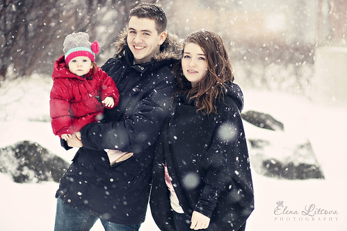 Snowy family portrait.