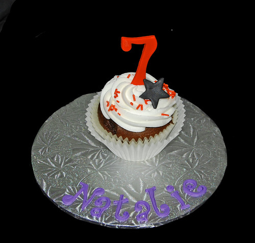 personalized jumbo cupcake for 7th birthday magic themed party