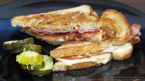 Grilled cheese with bacon, ham, and tomato by Coyoty
