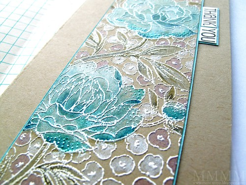 1c White heat emboss Hero Arts large flower bkgrd stamp on kraft cs -Distress ink painting with perfect pearls