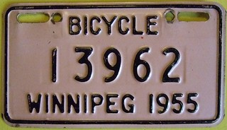 WINNIPEG MANITOBA 1955 ---BICYCLE PLATE
