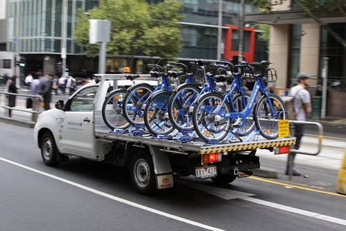Ute transferring Melbourne Bike Share bikes between stations