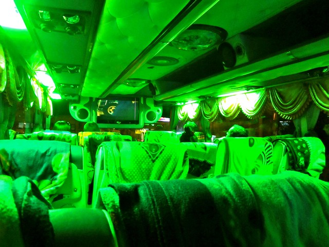 thai bus at night
