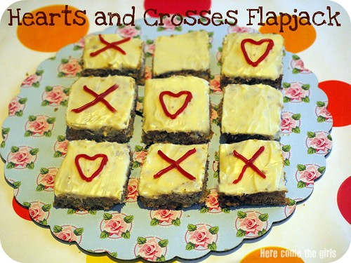 Hearts and crosses flapjack