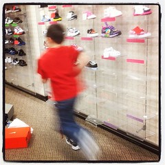 Testing his new kicks. JCPshopin
