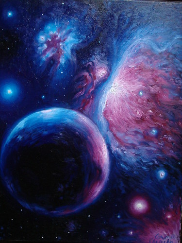 Orion_nebula_oil_on_camvas_painting_Nebuloasa_orion_pictura_ulei pe panza