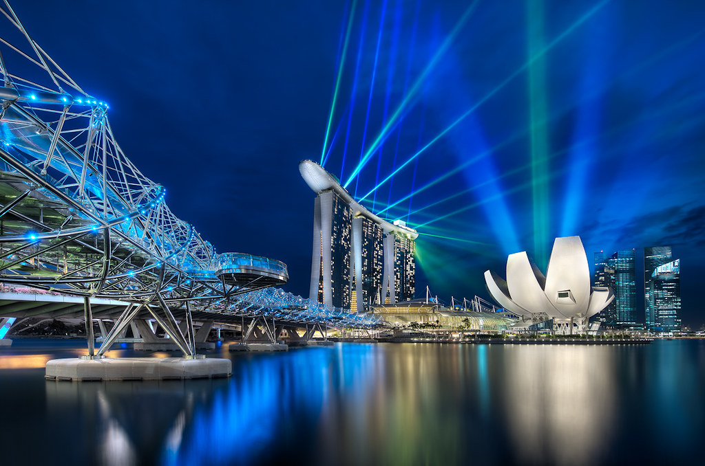 Marina Bay Sands and The Helix Bridge - (Singapore)